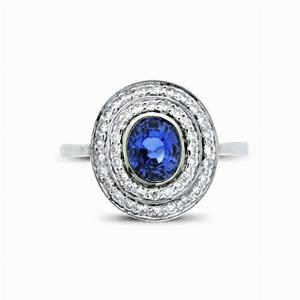 Sapphire & Diamond Grain Set Double Cluster Ring - 1.43ct